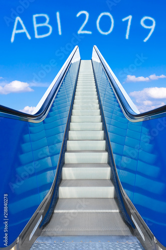 Escalator into a blue sky, concept of achievement, ABI 2019 text, Abitur meaning Canvas Print