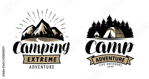 Fényképezés Camping, camp logo or label