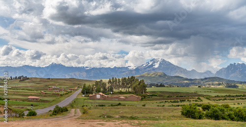 Fotografie, Obraz  A Farm in the Sacred Valley, Peru, At the Base of the Andes Mountain Range