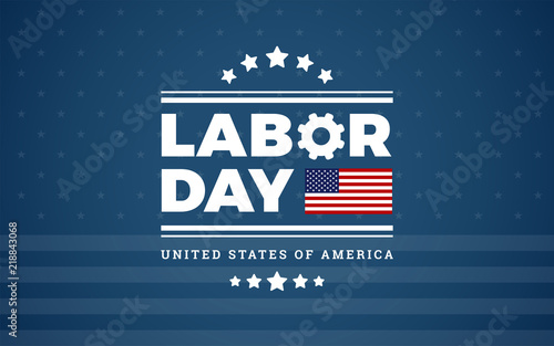 Valokuvatapetti Labor Day logo background USA - blue background w/ stars, stripes, the United St