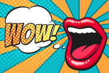 Pop Art Mouth With Wow Bubble