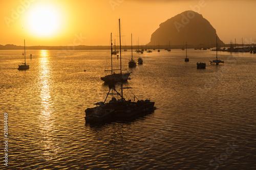 Fotografia, Obraz  Golden Sunset on the Morro Rock in Morro Harbor, Central Coast, California