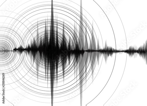 Obraz na plátně Earthquake Wave High richter scale with Circle Vibration on White paper background,audio wave diagram concept,design for education and science,Vector Illustration