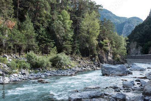 Spoed Foto op Canvas Khaki Photo de paysage panoraminque de haute montagne et de chemins de randonnée dans les alpes