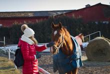 Woman With Horse At Winter Season