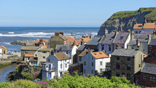 Overlook Of Iconic Noth Sea Fishing Village Of Staithes In North Yorkshire, England