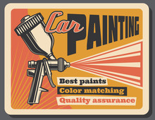 Car Painting Service Vector Vintage Poster