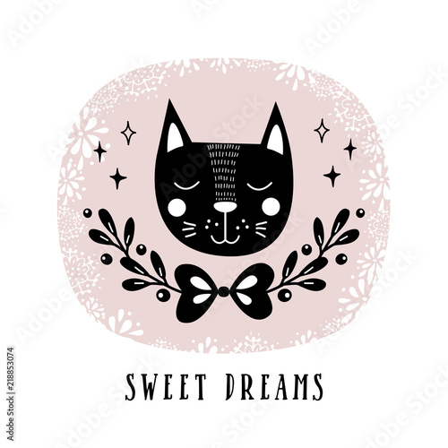 Vector card with cute cat illustration for childrens prints illustration for childrens prints greetings posters t m4hsunfo