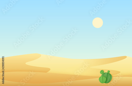 Piscine Desert sand dunes with cactus landscape vector illustration.