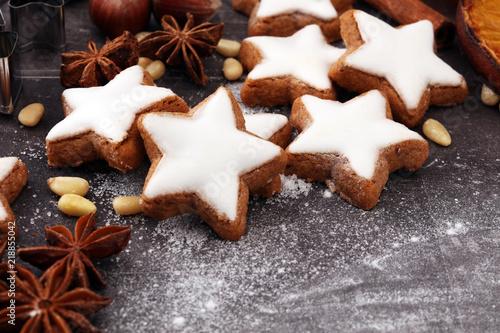 Spoed Fotobehang Aromatische Baking christmas cookies. Typical cinnamon stars bakery