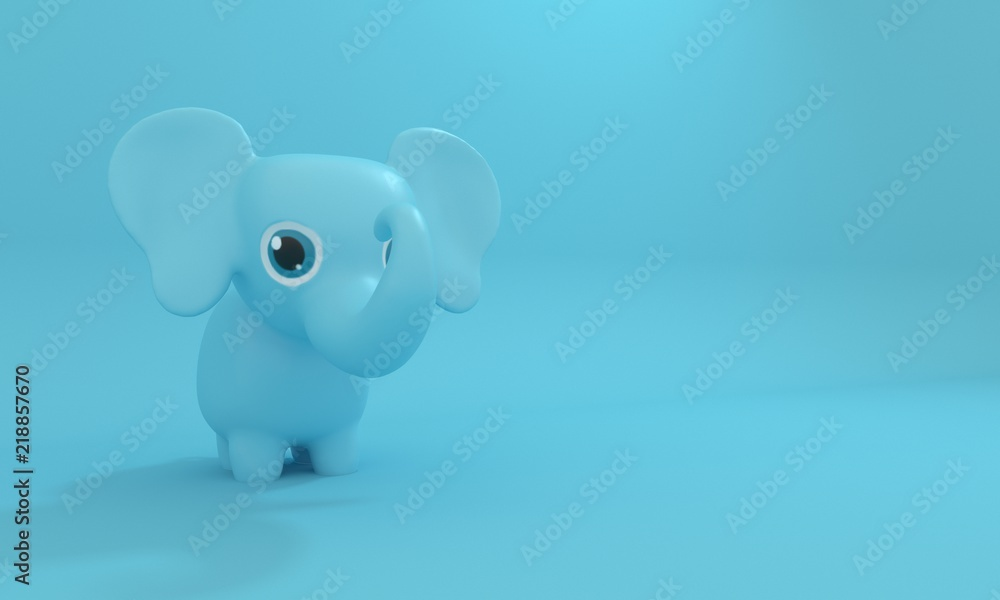 Model toy Elephant on a blue background. 3d rendering