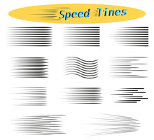 Set Of Speed Lines. Design Elements For Manga And Comics. Vector Illustrations For Your Projects.