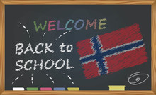 Back To School With Learning And Childhood Concept. Banner With An Inscription With The Chalk Welcome Back To School And The Norway National Flag