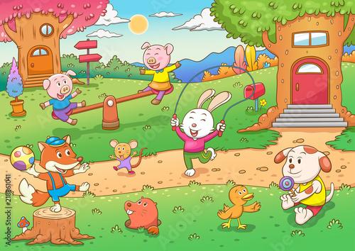 Obrazy dla dzieci dzieci-zwierzatka-na-placu-zabaw