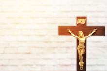 Wood Crucifix On White Brick W...