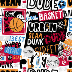 Fototapeta Grunge Vector sketch basketball seamless pattern for boys, cool dude, bro, urban. Hand-drawing lettering, slogan. Print grunge design for T-shirts, banners, flyers, children's party, clothes, social media.