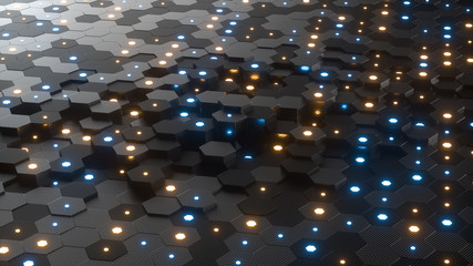 Abstract hexagonal geometric background. Structure of lots of hexagons of carbon fiber with small glowing hexagons above. Dark and luminous geometric elements. 3d rendering