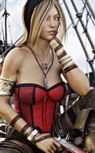 Portrait Of An Attractive Fit Pirate Female Sitting On The Deck Of A Pirate Ship. 3d Rendering.