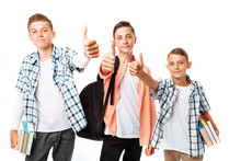 Teens Boys Show The Finger Top...
