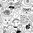 Black and white endless wallpaper with hipster cats and autumn mushrooms.