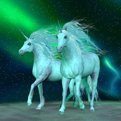 Obraz na płótnie Canvas Northern Lights Unicorns - The Unicorn is a mythical creature that has a horse body with forehead horn and cloven hooves.