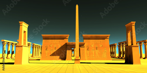 Fototapeta Egyptian Pharaonic Temple - A tall obelisk towers in front of a temple to honor the gods and goddesses of Egyptian culture