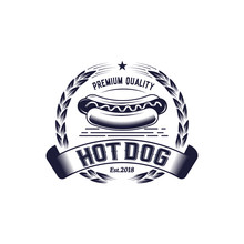 Vintage Hot Dog Badge Logo, Re...