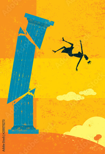 Falling off a pedestal Canvas Print