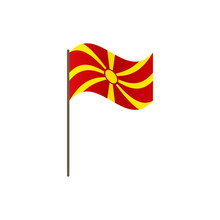 Macedonia Flag On The Flagpole. Official Colors And Proportion Correctly. Waving Of Macedonia Flag On Flagpole, Vector Illustration Isolate