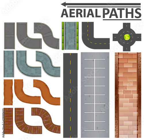 Canvas Print Set of aerial paths