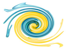 Bold Blue And Yellow Paint Swirling Together In Circle Shape