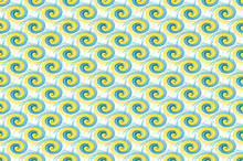 Bold Blue And Yellow Paint Swirls Repeating On White, Seamless Tile