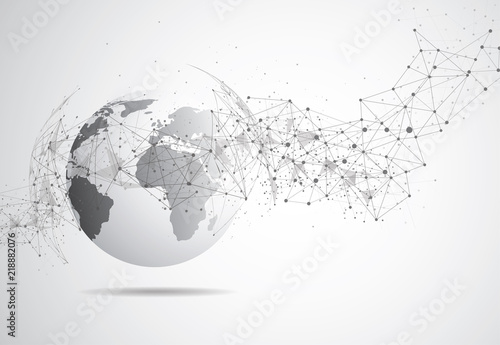 Global network connection. World map point and line composition concept of global business. Vector Illustration - fototapety na wymiar