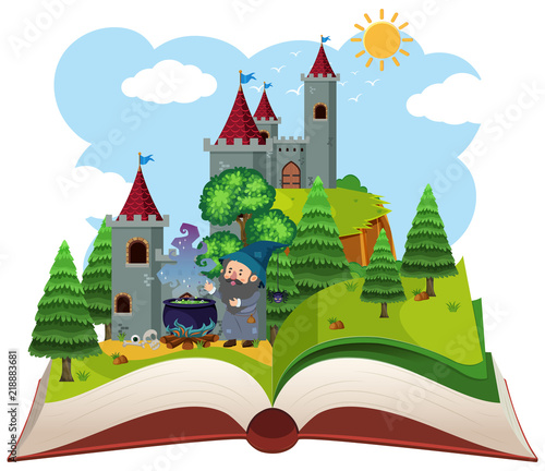 Fotobehang Indiërs Fairy tail open book