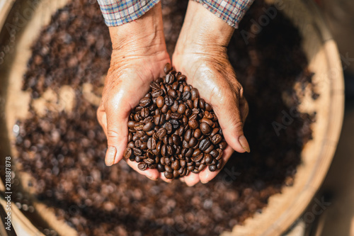 Staande foto Koffiebonen Roasted coffee Arabica coffee quality In the hands of the farmer
