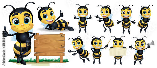 Bee cartoon Character with 10 poses_Vector Illustration EPS 10 Fototapeta