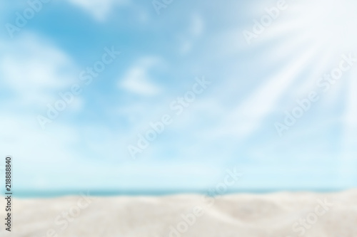 Canvas Prints Countryside Focus Sand floor over blur summer beach sea background concept for mockup product banner, world environment day, happy holiday
