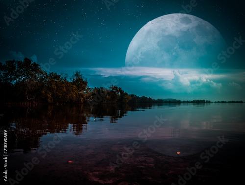 Photo Manipulation. Landscape of night sky with many stars. cinematic teal