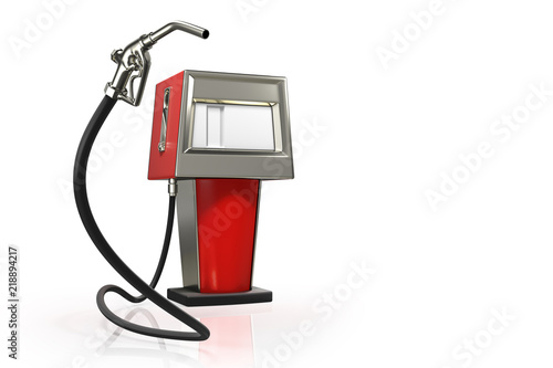 Valokuva 3d rendering of the gas pistol with a red retro gasoline dispenser pumps isolated on white background with clipping paths