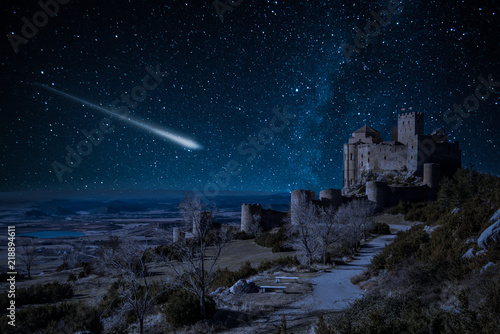 Shooting falling stars at Loarre Castle in Spain