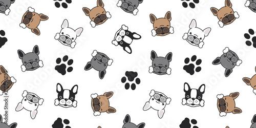 Fotomural Dog seamless pattern vector french bulldog pug dog paw cartoon isolated wallpape