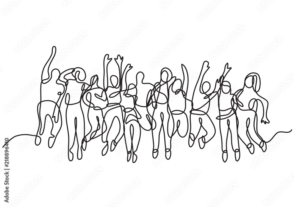 Fototapeta continuous line drawing of large group of jumping people