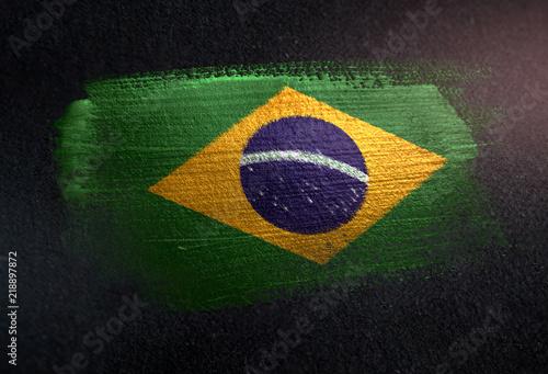 Brazil Flag Made of Metallic Brush Paint on Grunge Dark Wall Canvas