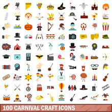 100 Carnival Craft Icons Set In Flat Style For Any Design Vector Illustration
