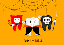 Funny Cute Cartoon Tooth Character. Dracula, Skull And Devil With Cobweb. Happy Halloween Concept. Design For Banner, Poster, Greeting Card. Illustration.