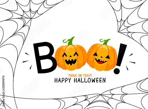 Fotografia, Obraz  Boo! lettering design with smiling pumpkin character