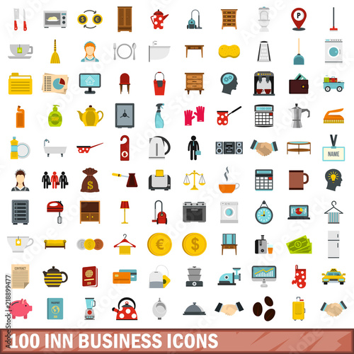 100 inn business icons set in flat style for any design vector illustration