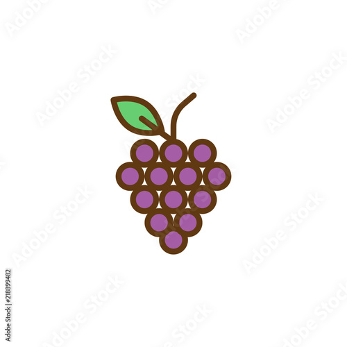 Grapes filled outline icon, line vector sign, linear colorful pictogram isolated on white. Fruit symbol, logo illustration. Pixel perfect vector graphics Fototapete