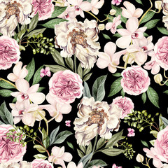 FototapetaWatercolor pattern with peony flowers and orchids.