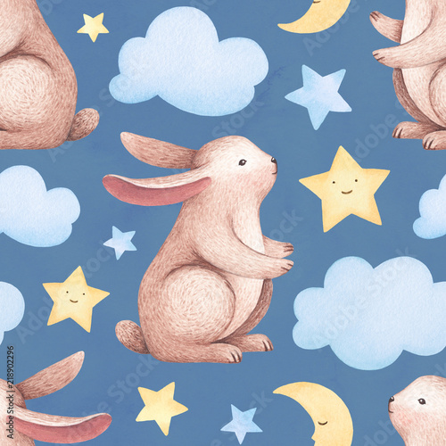 Photo  A watercolor illustration of the cute bunny. Seamless pattern